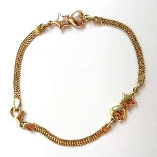 14k Gold Bracelet Heart & Star