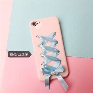 有實圖 全新轉售)i7 日系軟妹緞帶粉紅手機殼 💕
