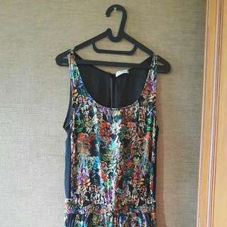 Pull & Bear Floral Print Jumpsuit With Open Back