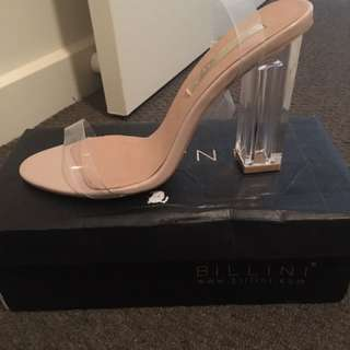 Billini Clear Strapped Heels Size 8