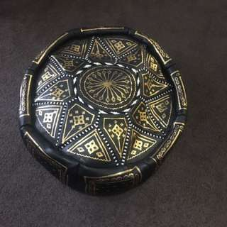 Real Leather Moroccan Pouffe