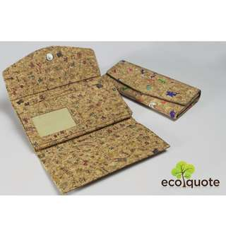EcoQuote Tri Fold Long Wallet Handmade Cork Material