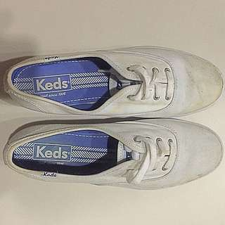 Keds White Sneakers (with One-inch Platform)