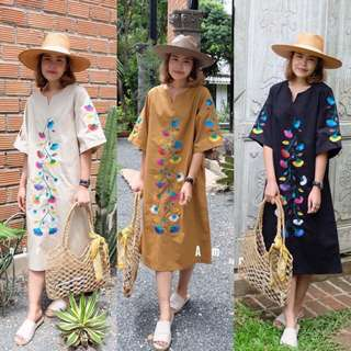 [BEST SELLING] [PO] AMC Oversized Embroidered Floral Maxi Dress