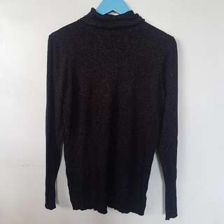 Black Sequin Turtle Neck Pullie