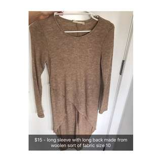 Long Sleeve Long Back Top