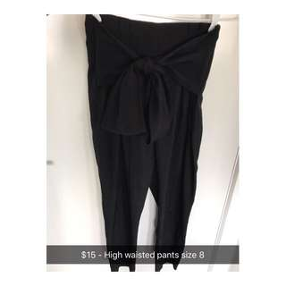 High Waisted Tie Pants