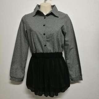 Korean Grey top With Black Frills