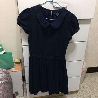💕SPAO 深藍緹花洋裝💕