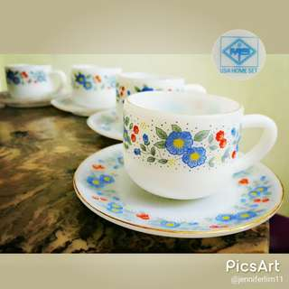 Vintage USA Home Set Milk Glass Cups and Saucers with Gold Rims. Unused, Mint Condition. 4 sets for $24 offer, sms 96337309 for Fast Deal !