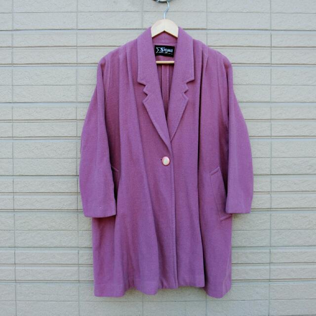 Morning Deer古著藕紫色西裝領大衣外套
