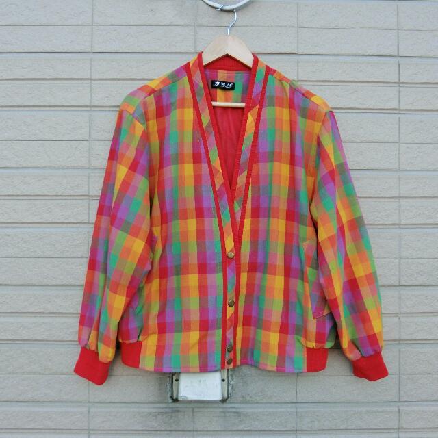 古著版型開襟彩色格子外套