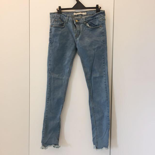 淺色彈性窄管牛仔褲/長褲