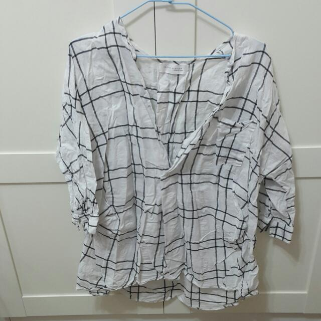 格子麻襯衫