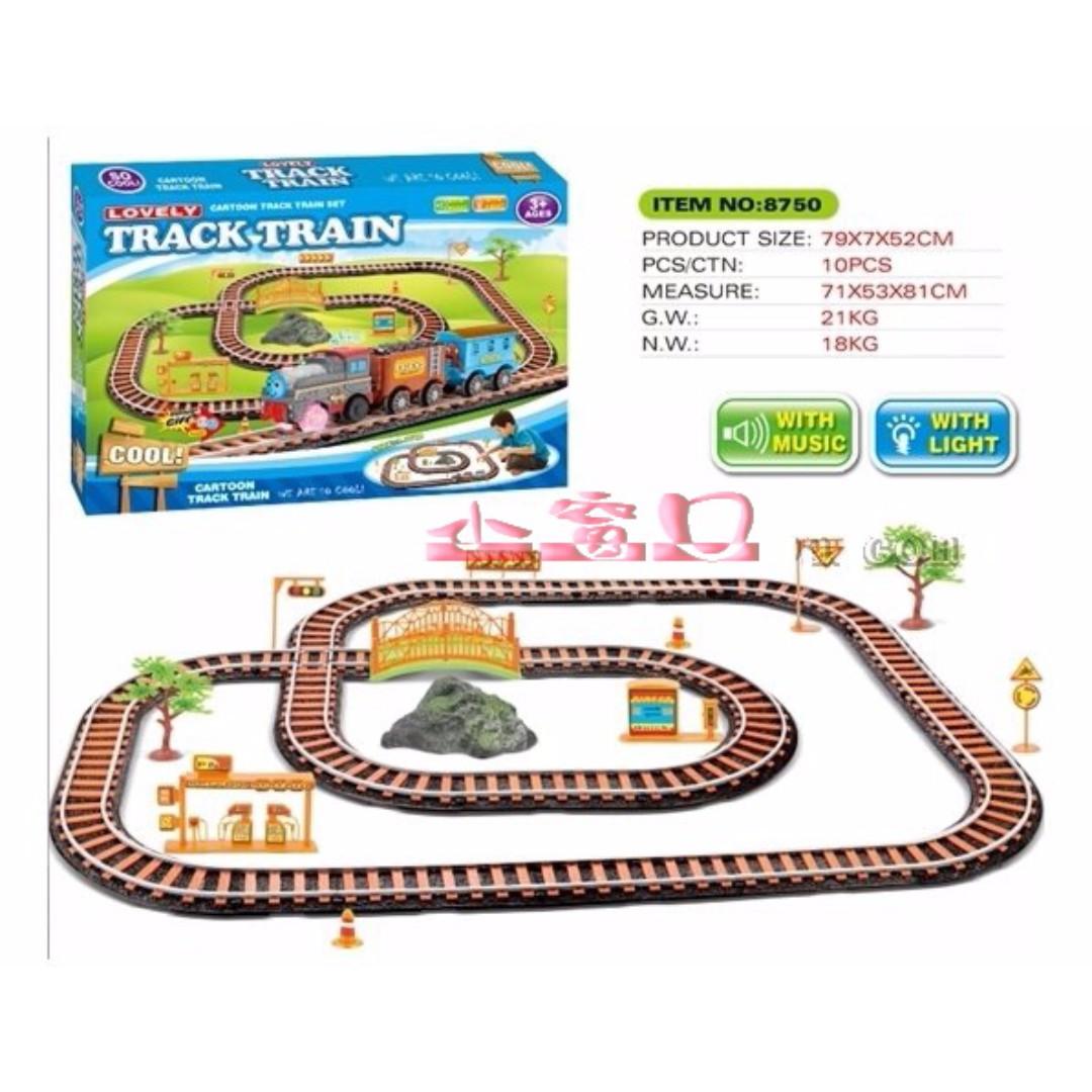 【超級大盒】電動仿古軌道火車,帶燈光音樂火車套裝軌道玩具 兒童超大號電動音樂多層軌道車男孩3歲
