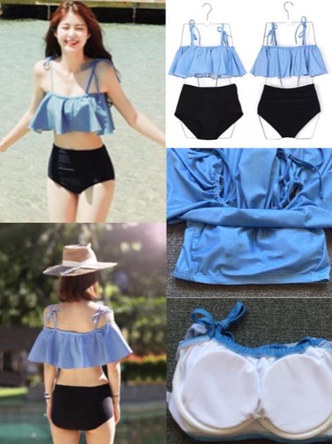 藍色荷葉邊正韓泳衣含運!!! #我有泳裝要賣