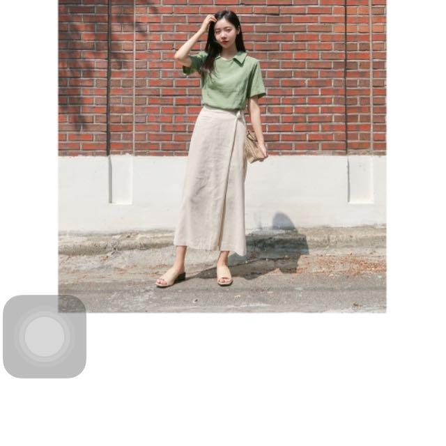 韓國帶回 麻紗綁帶裙