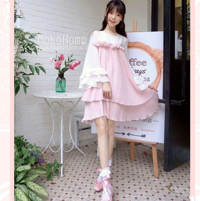 茉莉💖 法式復古 簡約 風琴雪紡假兩件連衣裙