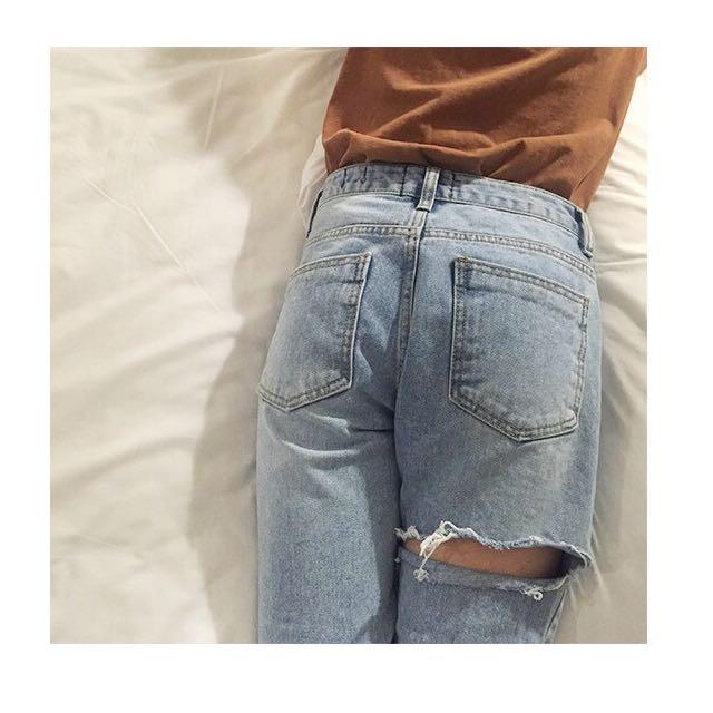 📦 Thigh Ripped Denim