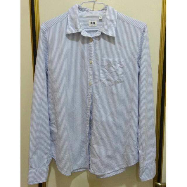 Uniqlo牛津直條紋襯衫(白底淺藍條紋)