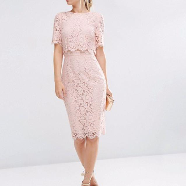 Asos Lace Midi Pencil Dress