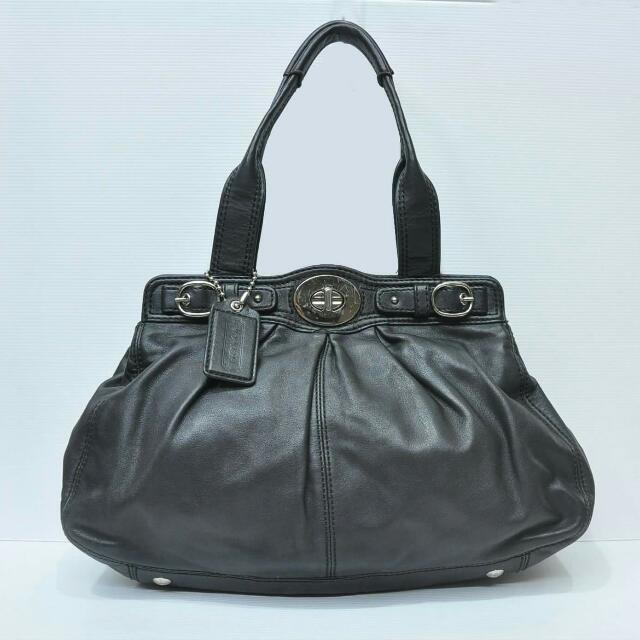 Authentic Coach 13914 Garnet Black Leather Satchel Bag