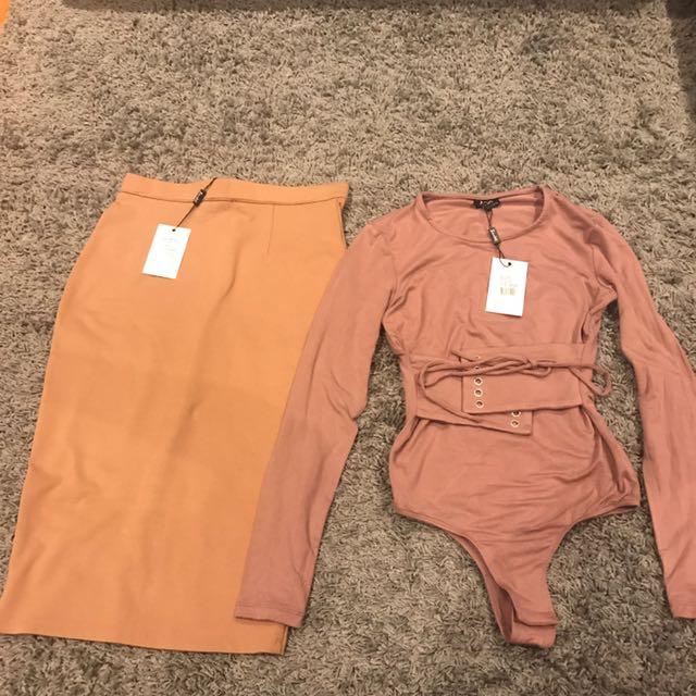 Bardot Bodysuit And Skirt