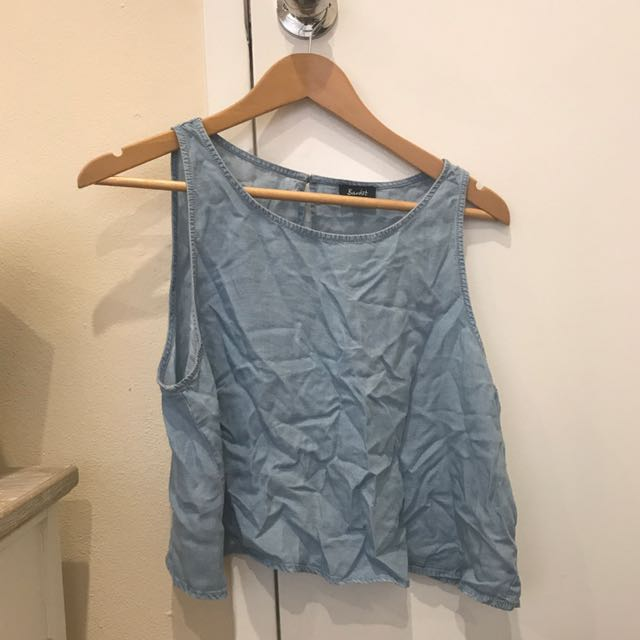 Bardot Open Back Chambray Top