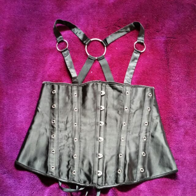 Black Harness Underbust Corset 2xl Size 14 Goth Fashion Lace Up