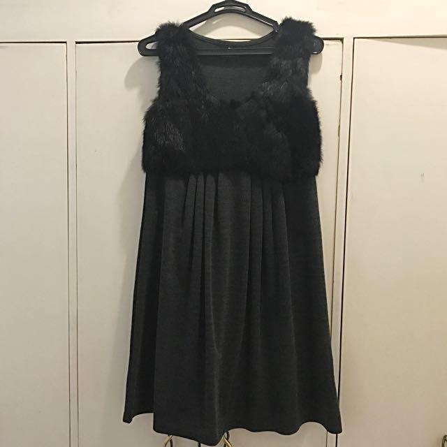 Black Sleeveless Dress with Fur Top