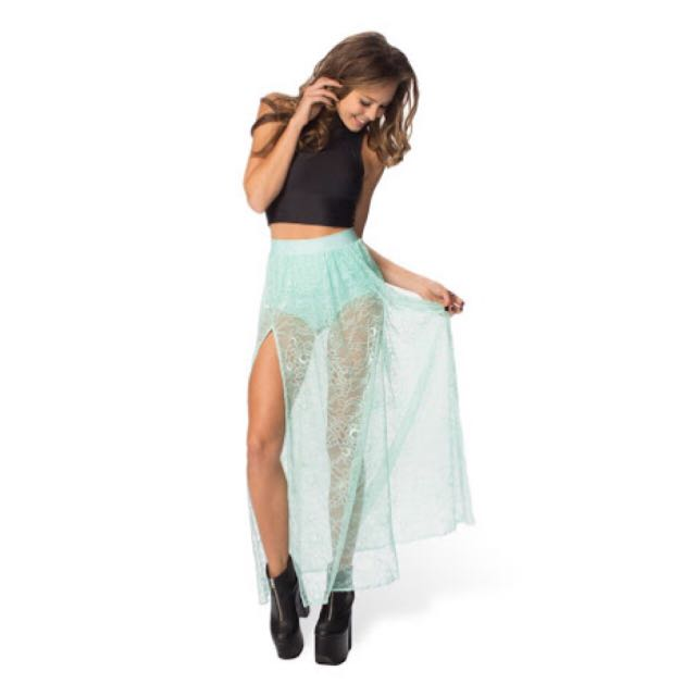 Blackmilk Mint Split Lace Skirt
