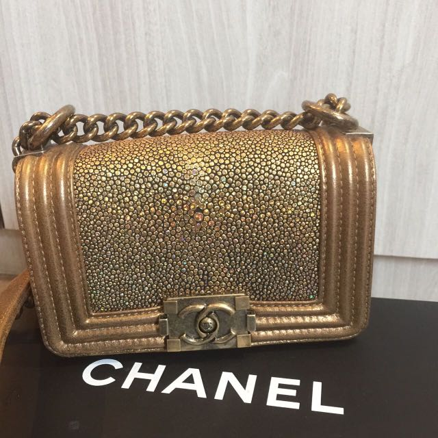 6ab2616c945d Chanel Boy Gold Mini Stingray