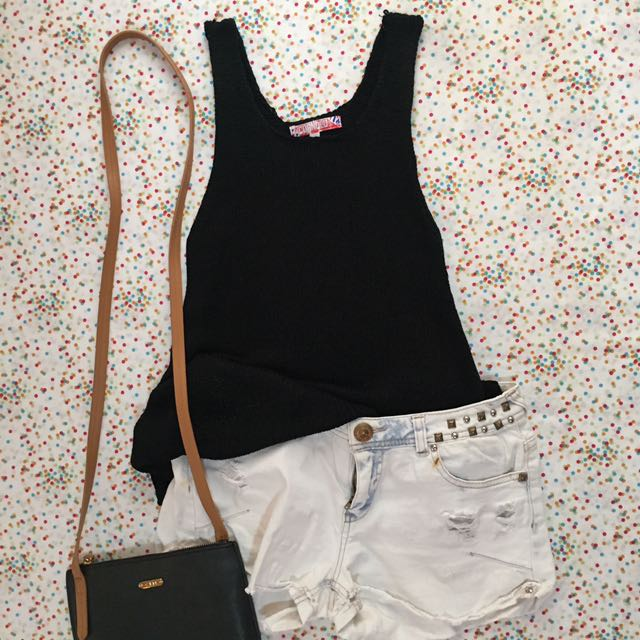 COANDLU Black Knit Sleeveless Top