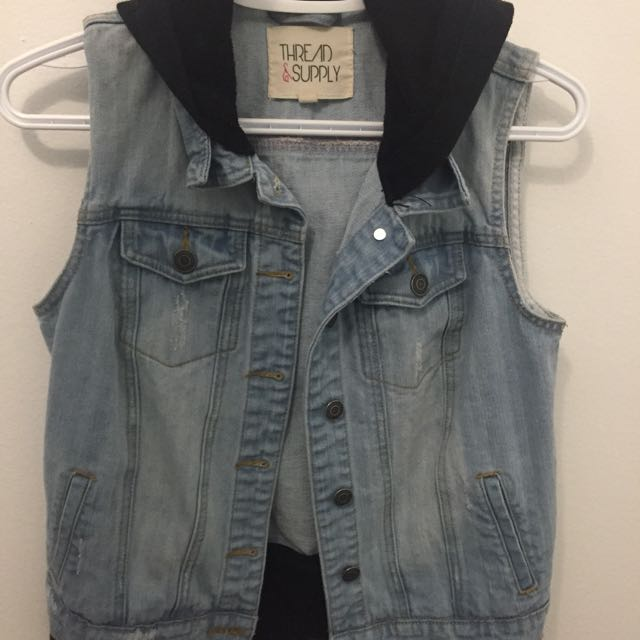 Denim Vest With Black Hoodie