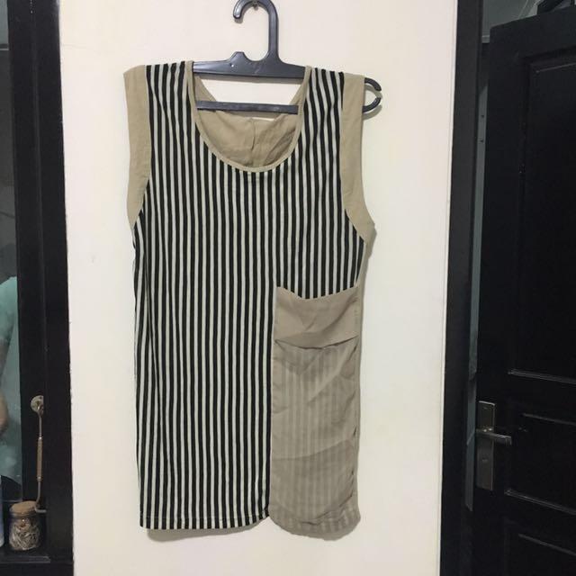 Dress Coklat Hitam Putih Garis Garis Stripe Wanita Perempuan