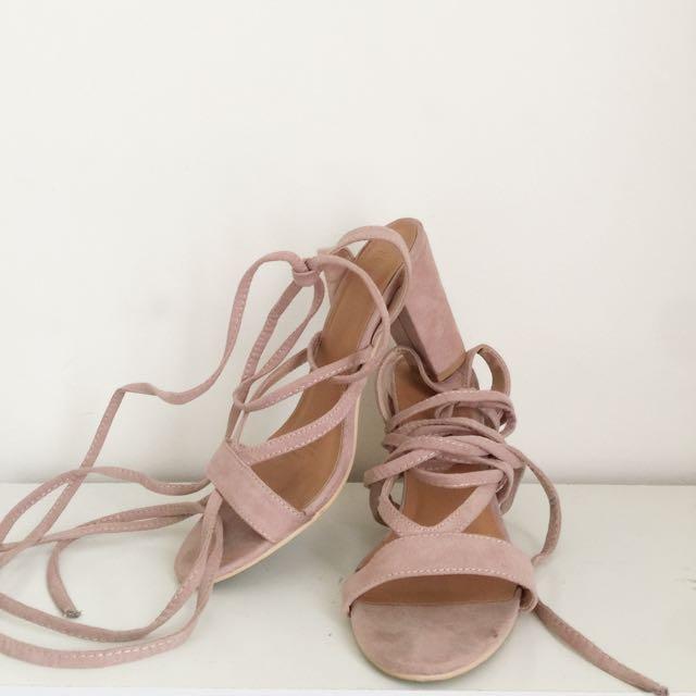 Dusty Pink Tie-up Heels