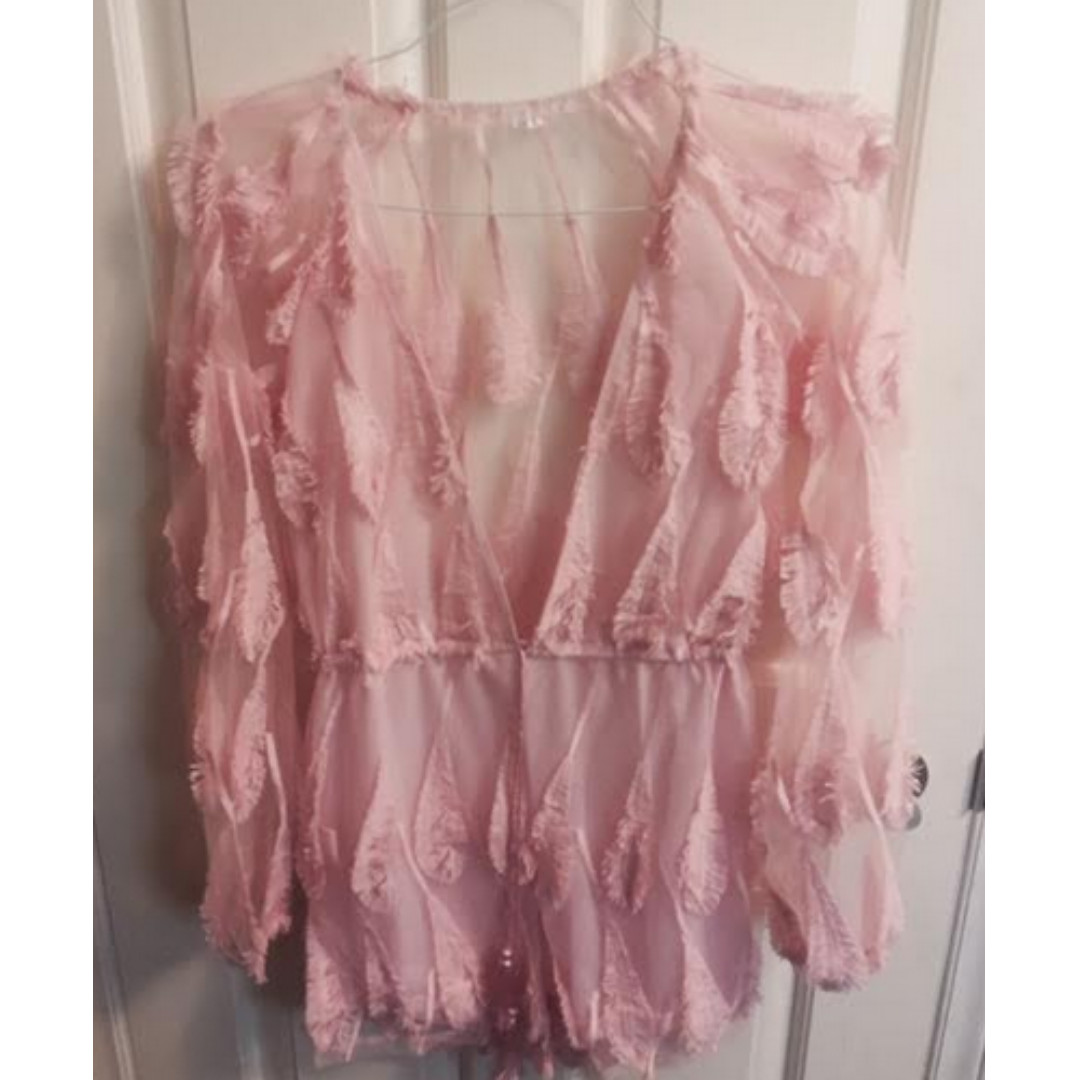 Feather Embroidered Pink Lace One-piece