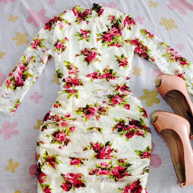 Forever21 turtleneck dress (floral and lace)
