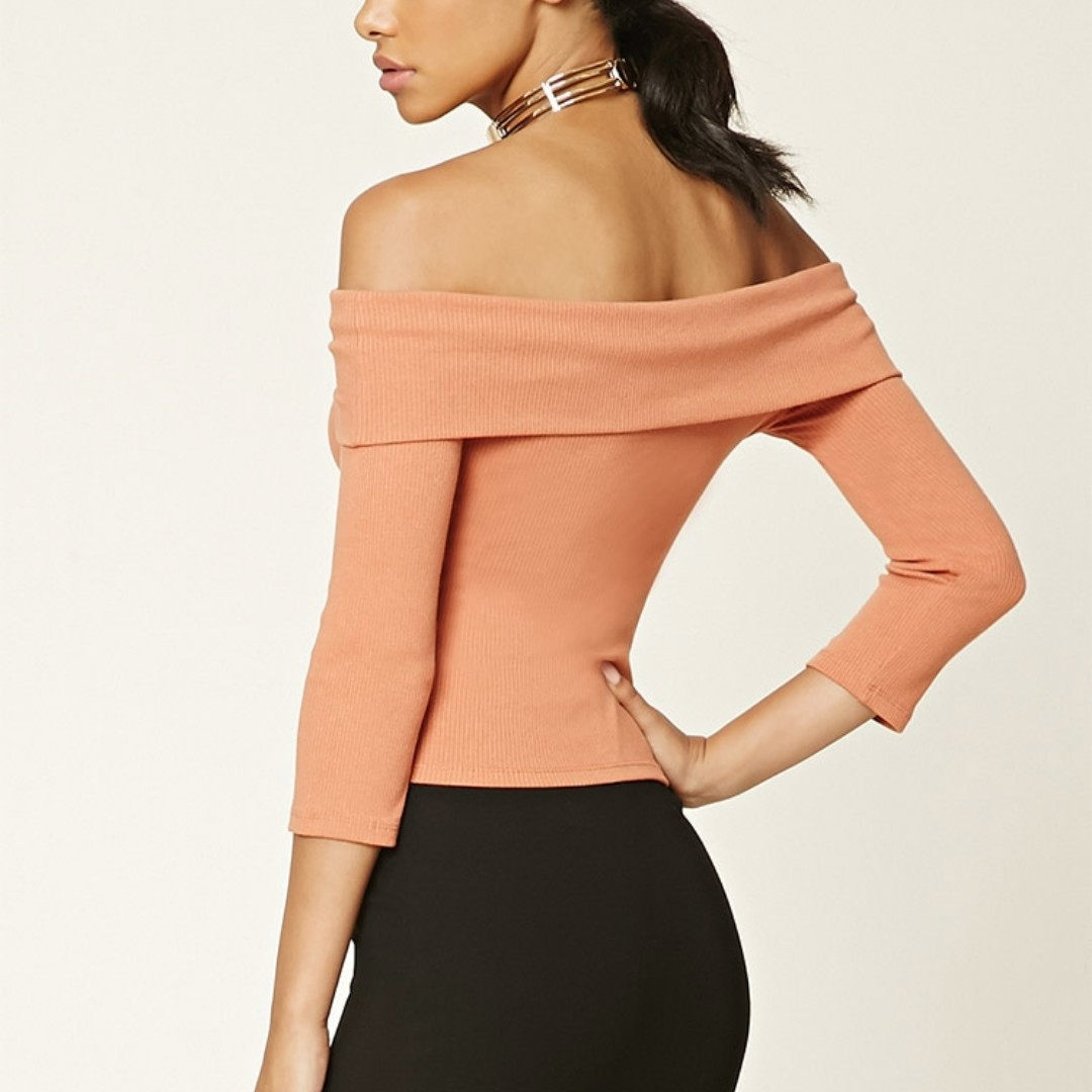 Forever 21 Ribbed Knit Off-the-Shoulder