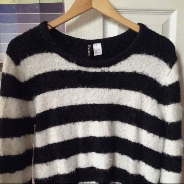 Furry Oversized Striped Sweater