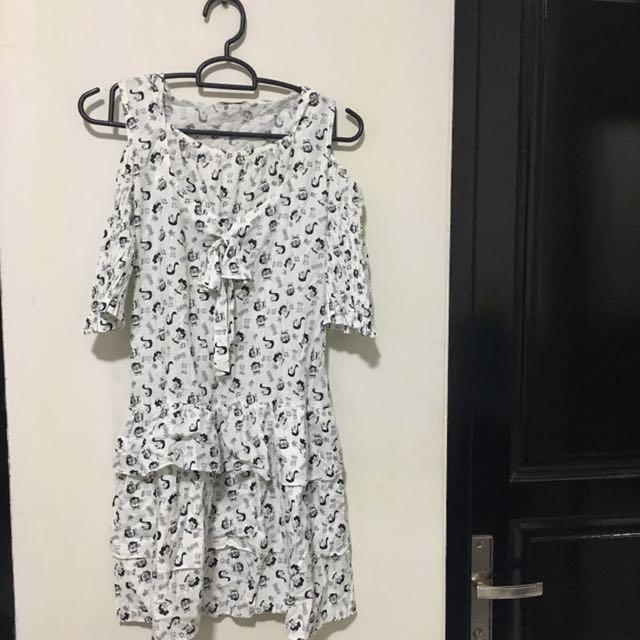 Jumpsuit Semi Dress Putih Perempuan Wanita White
