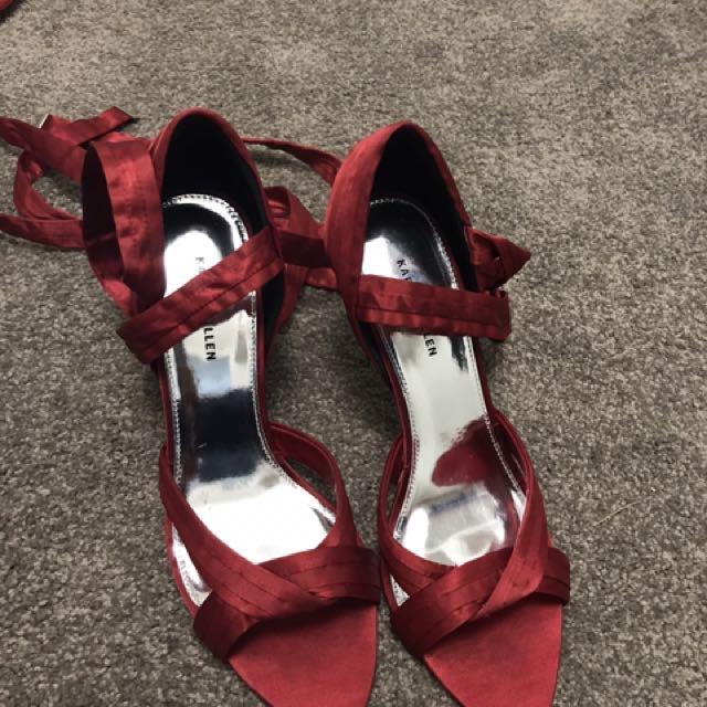 Karen Millen Red Ankle Tie Heels