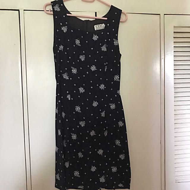 Navy Blue Printed (Snowflakes) Dress