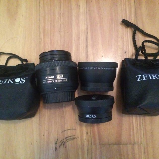 NIKON 35mm 1.8 & ZEIKOS Macro+2xTele Lens