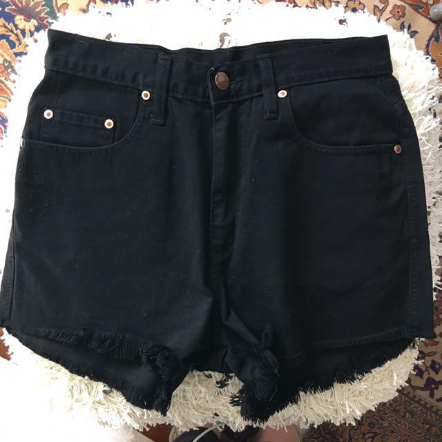 Nobody Black Frayed Denim Shorts