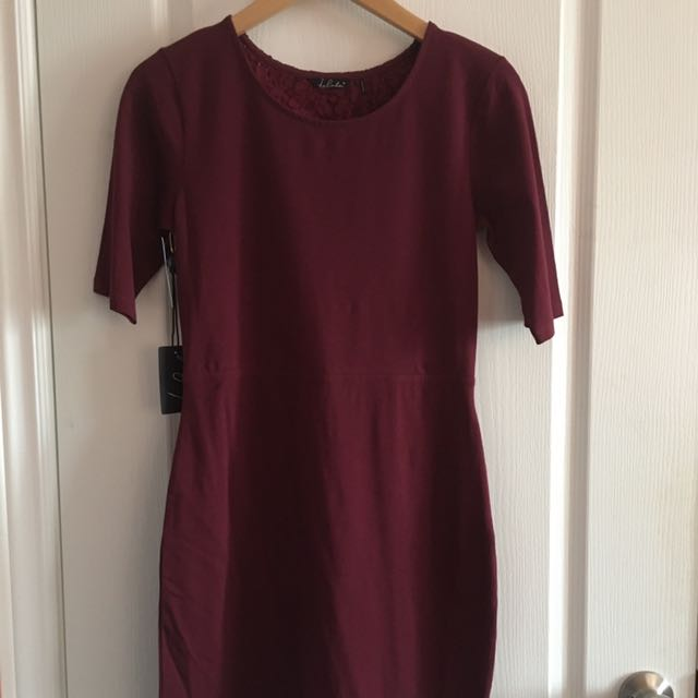 NWT Burgundy Lace Back Detail Fitted Dress