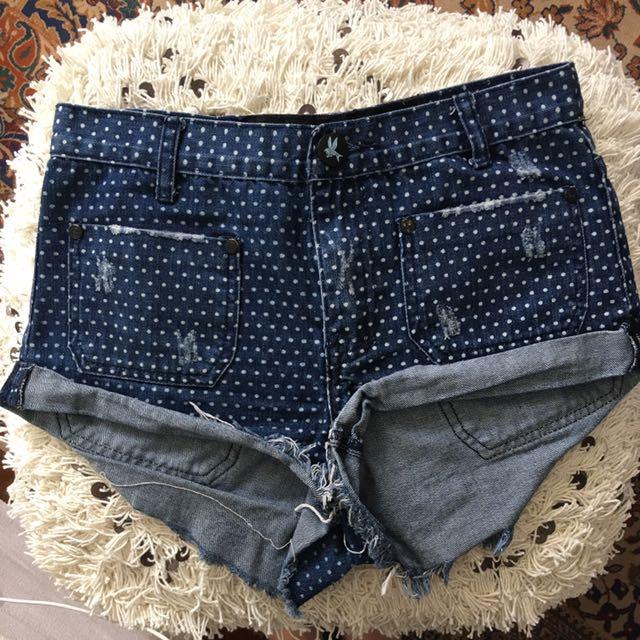 One Teaspoon Spotty Denim Shorts