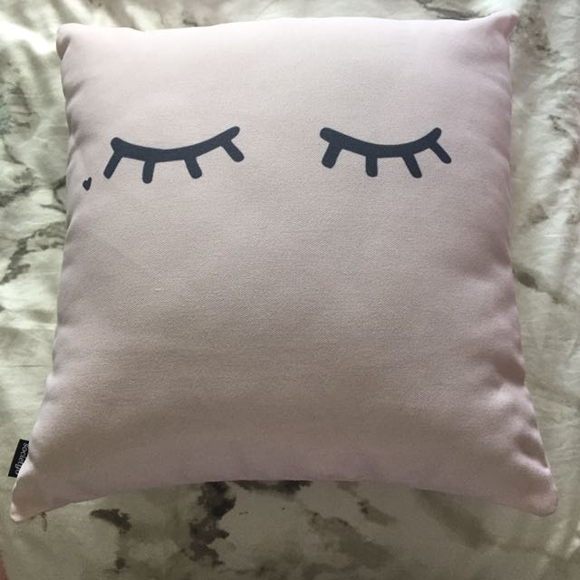 Pale Pink And Navy Wink Pillow