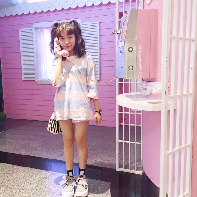 Perdot❤️糖果色粉紅粉藍條紋T