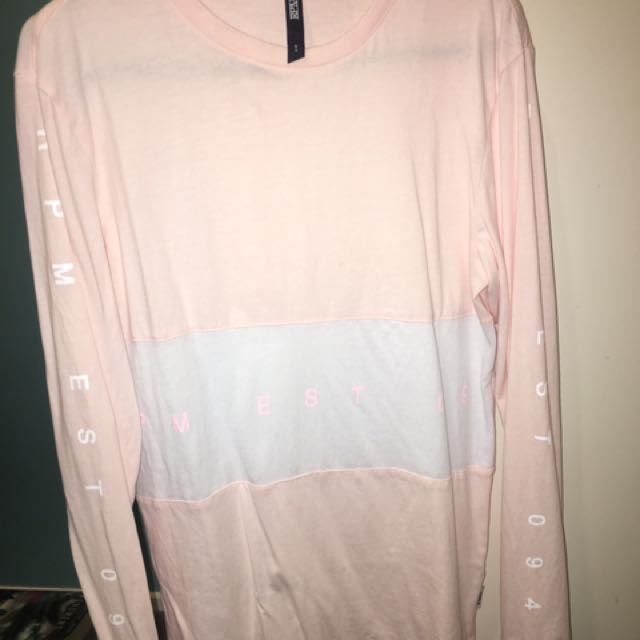 Pink And White Long Sleeve RPM Size 6 Tshirt